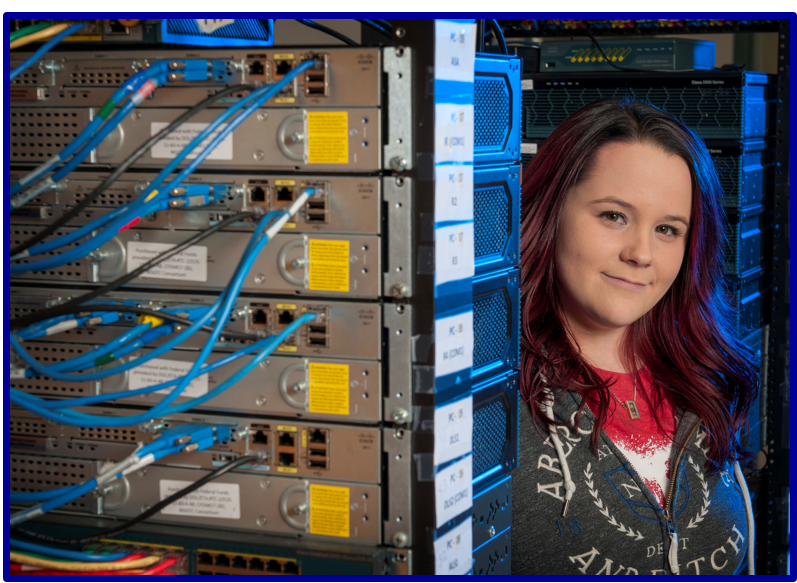 Chelsea Bray at router rack