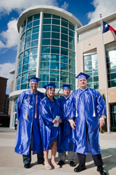 (From left) Olicer Berghaus, Paulina Tseng, Kevin Dippel and Chris Purget pictured hours before graduating together with degrees in Convergence Technology at Collin College.