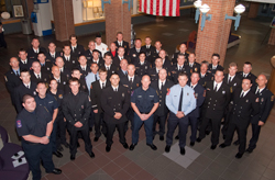 During the commencement for the Fire Academy's 50th class, representatives from each of the first 49 classes convened as a showcase to the program's longevity