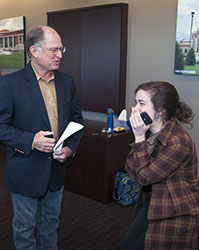 Mac Hendricks, chair of the Collin College Board of Trustees surprises Collin College student Moriah Walton with the news that she is the recipient of the prestigious Jack Kent Cooke scholarship.
