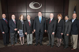 Collin College trustees welcomed the new district president. Picture from left are Steve Cone, Andy Hardin, Nancy Wurzman, Mac Hendricks, Dr. Neil Matkin (district president), Dr. Bob Collins, Jenny McCall, Adrian Rodriguez and Larry Wainwright.  Nick Young, Collin College photographer