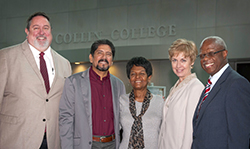 Pictured: Dr. Neil Matkin, Collin College district president; Adrian Rodriguez, event co-chair and Collin College trustee; Evelyn McKnight, event co-chair; Dr. Colleen Smith, the college's district senior vice president of academic affairs and student development.; and Fred Moses, founding chair of the Power Breakfast.