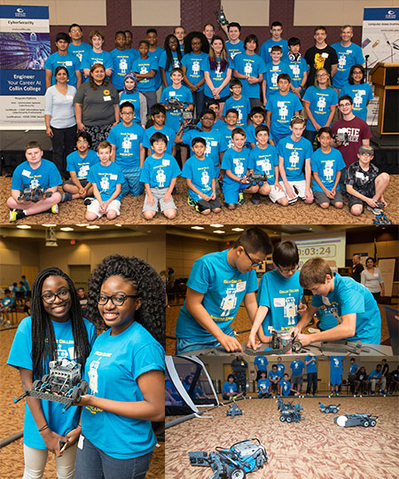 Photo Collage of Students from 2016 Collin College Robotics Camp