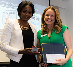 (From left ) Thelma T. Manase of Prosper accepts the Vice President's Leadership in Language Award from Dr. Jennifer Blalock, vice president of workforce & economic development at Collin College. Photo courtesy of  Hieu Currey