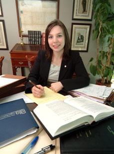 paralegal at desk
