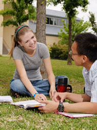 Students on the Preston Ridge Campus lawn