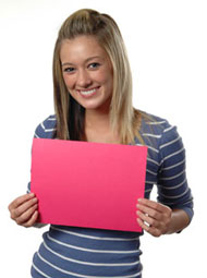Student holding file