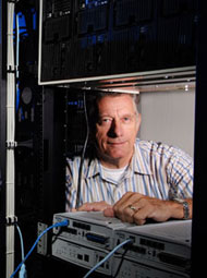 man with network equipment