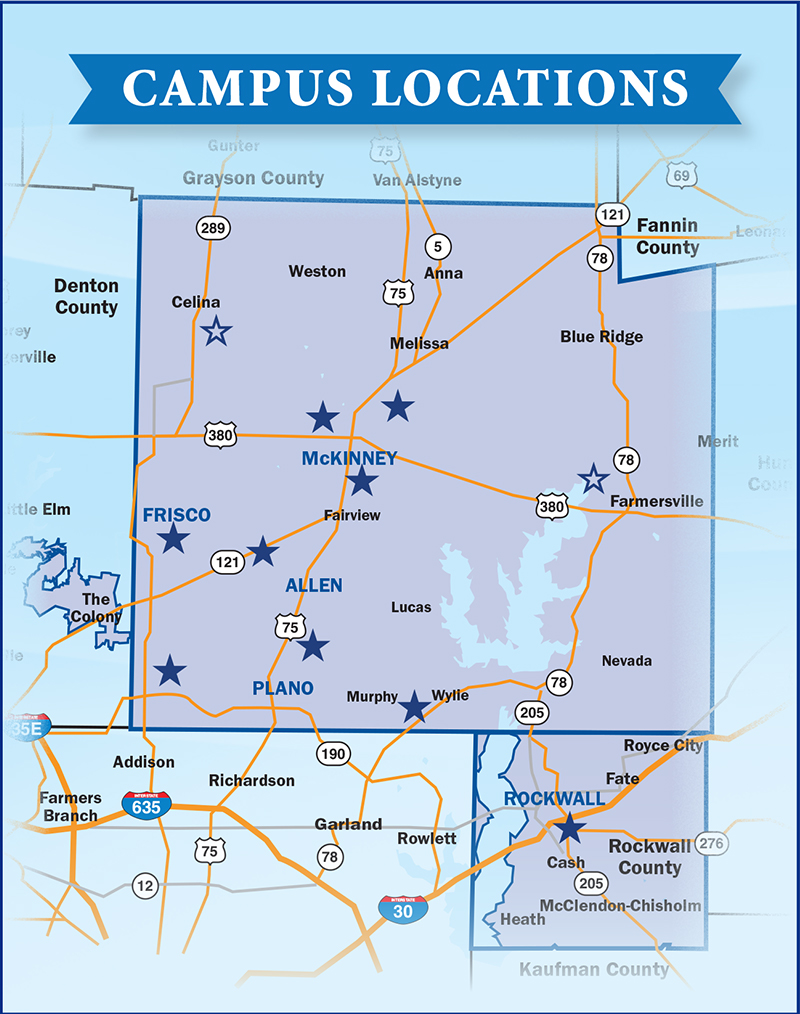 Map of Collin County showing locations of all current and future Collin College campuses