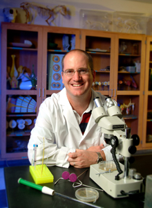 Collin College biology professor Dr. Collin Thomas enjoys working with students on research projects in the college�s laboratories.